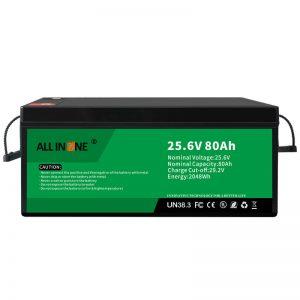 25.6V 80Ah בטיחות/סוללת LFP לכל החיים לטרוואנים/קרוואנים/UPS/עגלת גולף 24V 80Ah